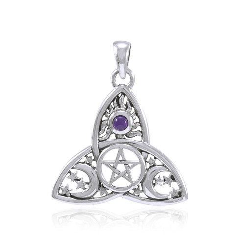 Cosmic Triquetra with Tiny Pentacle Pendant (Sterling Silver)