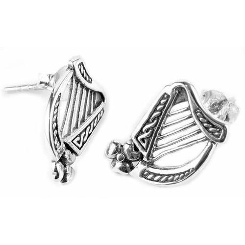 Celtic Harp Stud Earrings (Sterling Silver)