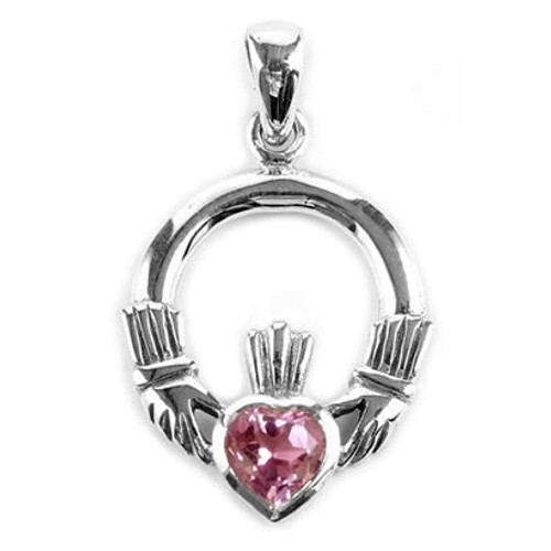 Small Claddaugh with Amethyst Heart Pendant (Sterling Silver)