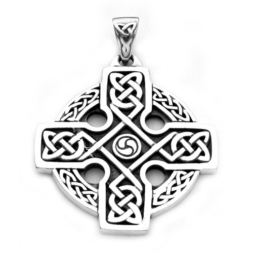 Square Ornate Celtic Cross Pendant (Sterling Silver)
