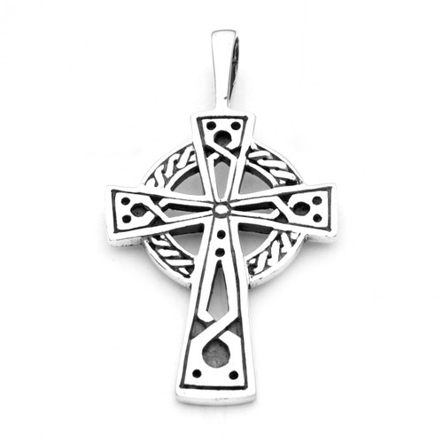 Engraved Celtic Cross Pendant (Sterling Silver)