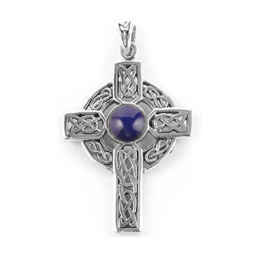 Ornate Celtic Cross & Lapis Lazuli Pendant (Sterling Silver)