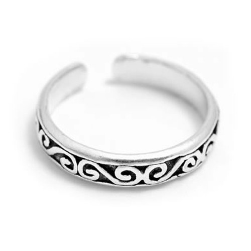Patterned Toe Ring (Sterling Silver)