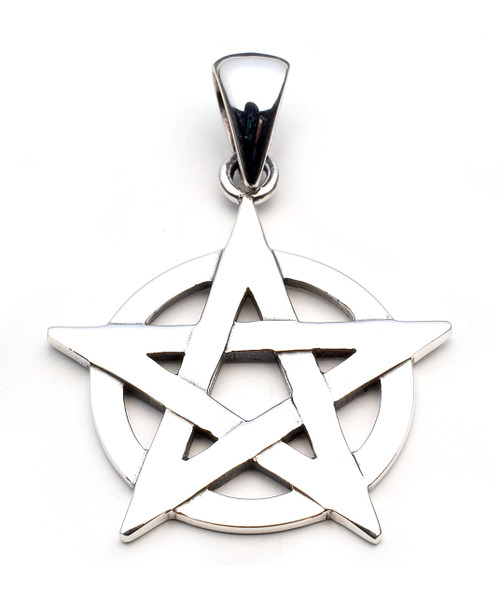 Pentagram Overlaying Circle Pendant (Sterling Silver)