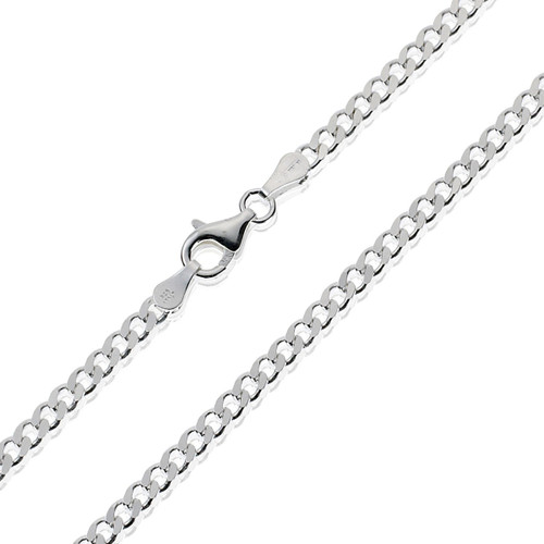 Sterling Silver Thicker Curb Chain (For Men) - 24 inch / 61 cm