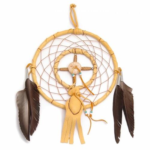 Handmade Navajo Dream Catcher with Medicine Bag by Curtis Bitsui