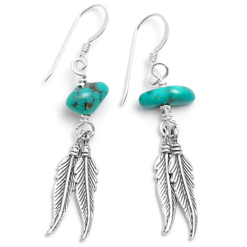 Feather and Natural Turquoise Nugget Earrings (Sterling Silver)