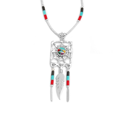 Zuni Web of Life Necklace (Sterling Silver)