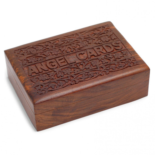 Hand-Carved Wooden Angel Card Box