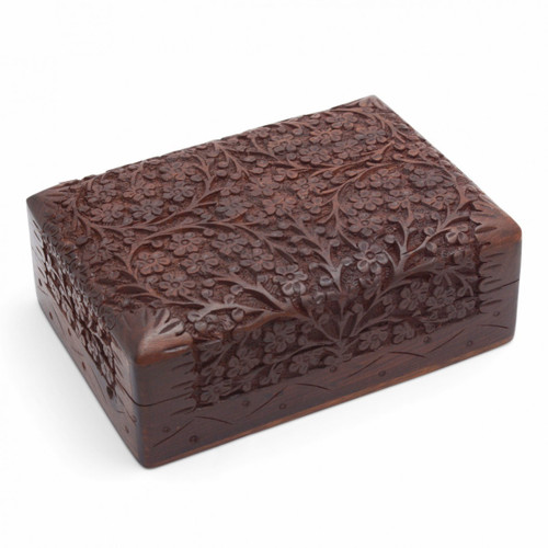 Carved Wooden Floral Card Box