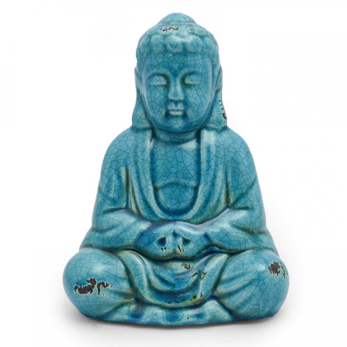 Ceramic Thai Blue Buddha (With Antique Effect)