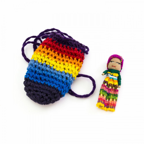 Guatemalan Worry Doll in Small Crochet Bag