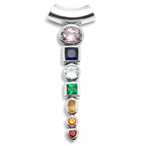 Chakra Pendant with Faceted Crystals (Sterling Silver)