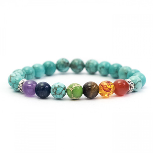 Chakra Crystal Bracelet (with Reconstituted Turquoise)