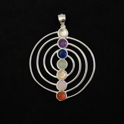 Sacred Chakra Spiral Pendant (Sterling Silver)