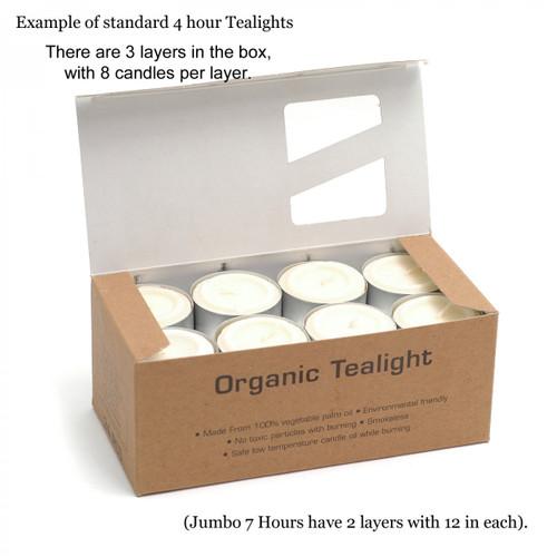 Heaven Scent Natural Organic Jumbo Tea Light Candles 24 Long Life 7 hours