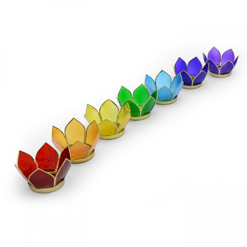 Set of 7 Mini Lotus Chakra Tea-Light Holders