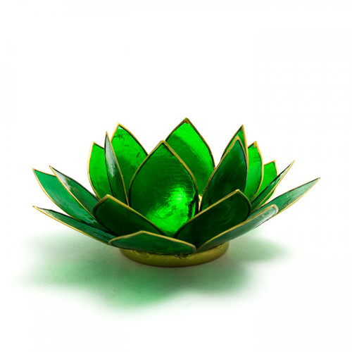 Green Lotus Flower Tea Light Holder (Heart Chakra)