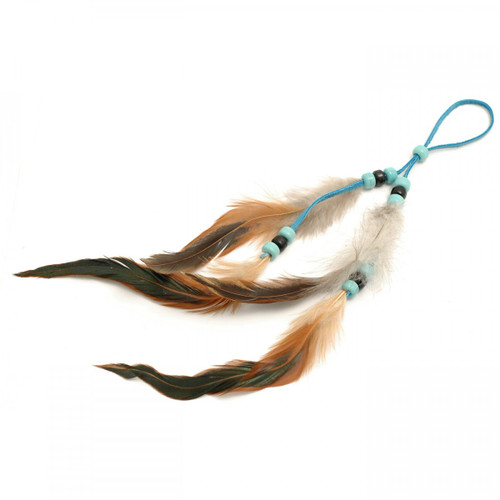 Long Turquoise Decorative Feather Adornment by Sheryl Kee - Navajo Tribe