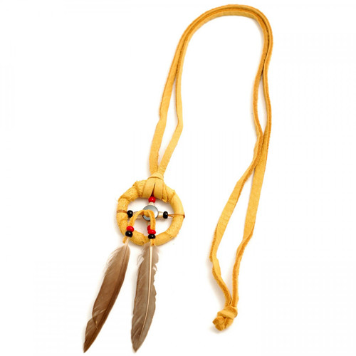 Tan Medicine Wheel Leather Necklace by Curtis Bitsui