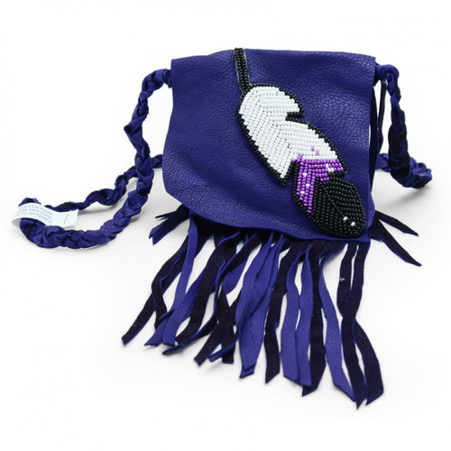 Purple Leather Pouch With Beaded Feather by Sylvia Jackson