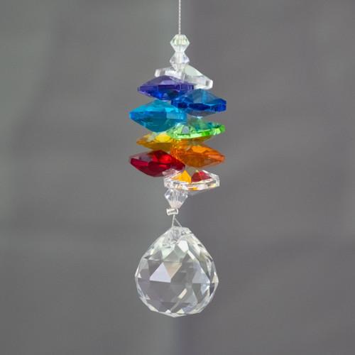 20mm Sphere Lead Crystal with Mini Rainbow Lead Crystals