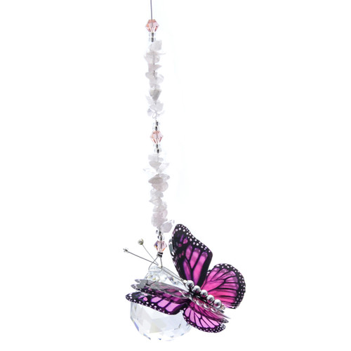 Lead Crystal Ball Butterfly - Pink