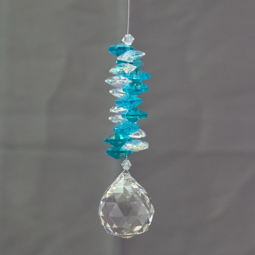 Lead Crystal Diamond Cascade - Ocean