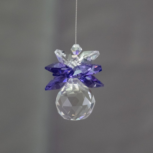 20mm Lead Crystal Sphere with Clear & Purple Suncatchers