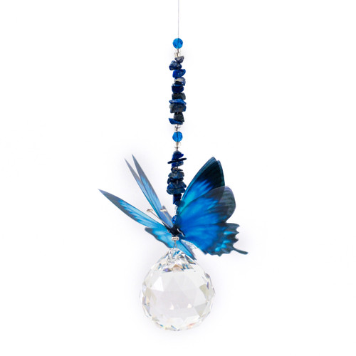 Lead Crystal Ball Butterfly - Blue