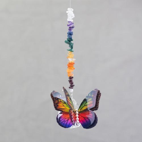 Lead Crystal Ball Butterfly - Rainbow