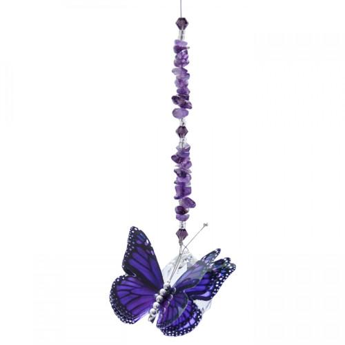 Lead Crystal Ball Butterfly - Purple