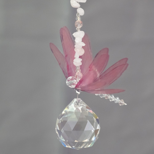 Lead Crystal Ball Dragonfly - Pink