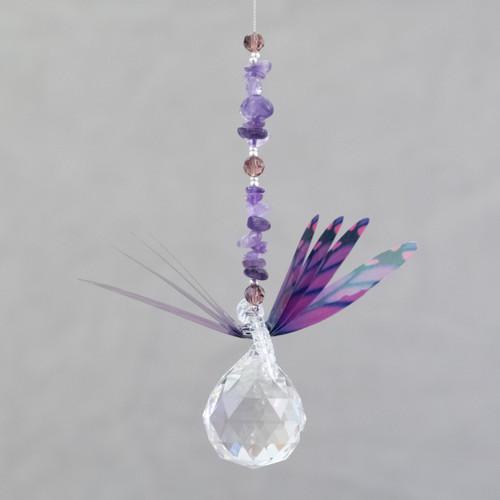 Lead Crystal Ball Dragonfly - Purple