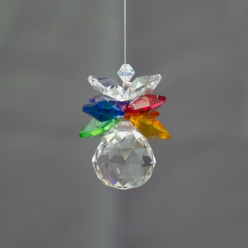20mm Lead Crystal Sphere with Chakra Crystals