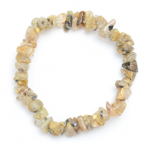Rutilated Quartz Crystal Chip Bracelet