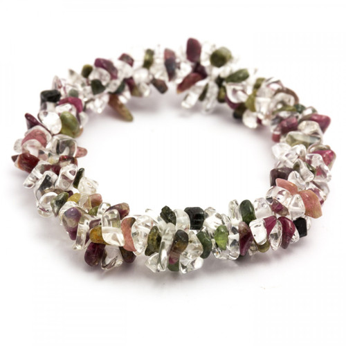 Mixed Tourmaline & Clear Quartz Chunky Chip Bracelet