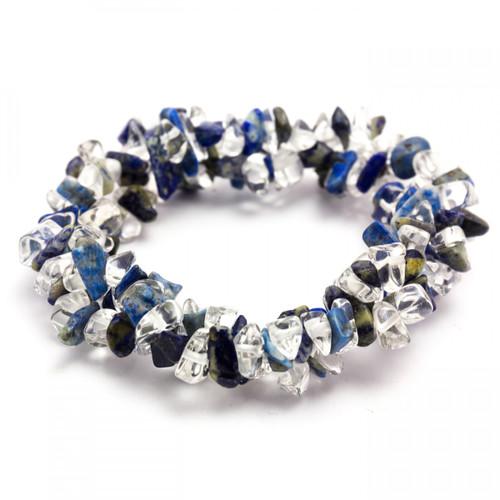 Lapis Lazuli & Clear Quartz Chunky Chip Bracelet