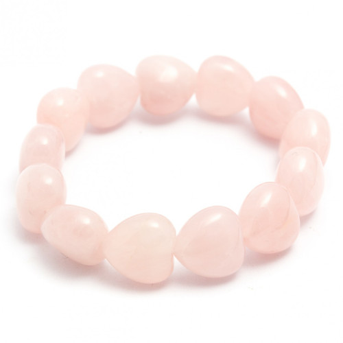 Chunky Rose Quartz Heart Bracelet