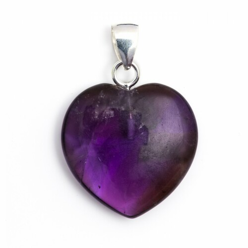 Amethyst Crystal Heart Pendant