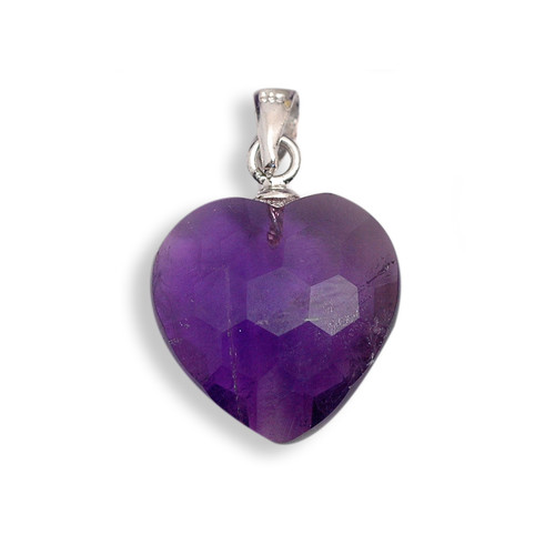 Faceted Amethyst Crystal Heart Pendant (Premium quality)
