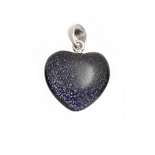 Baby Blue Goldstone Crystal Heart Pendant (Premium quality)
