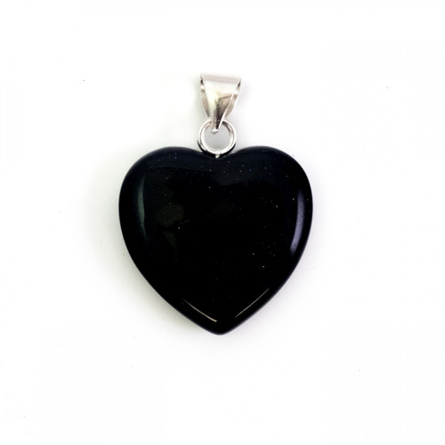 Dark Blue Goldstone Crystal Heart Pendant