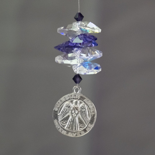 Lead Crystal Sun Catcher with Guardian Angel Disc