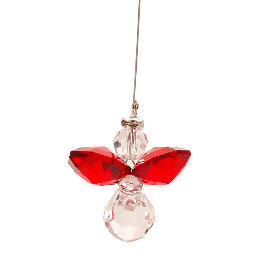 Red Lead Crystal Hanging Angel
