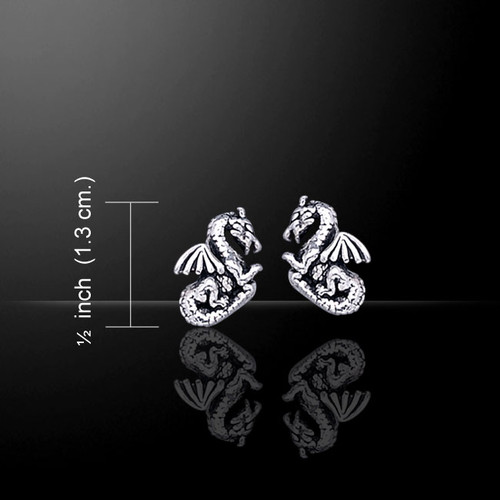 Dragon Stud Earrings (Sterling Silver)