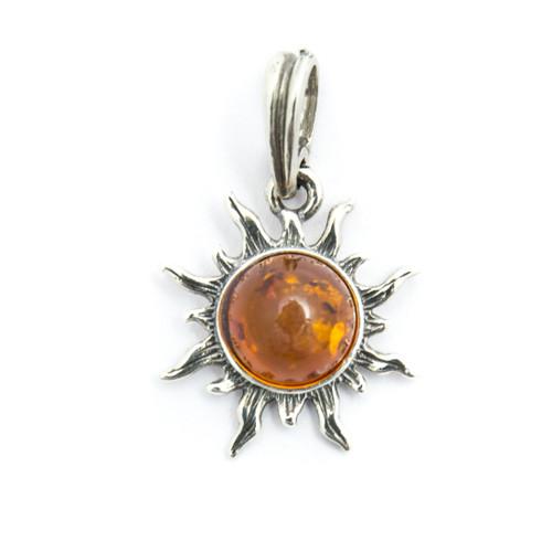 Baltic Amber Sun Pendant (Sterling Silver)