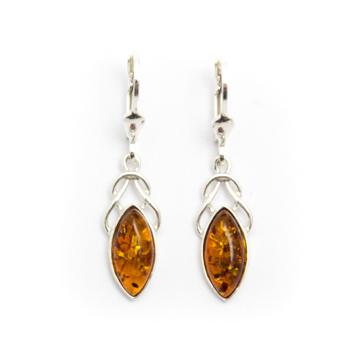 Baltic Amber Drop Earrings (Sterling Silver)