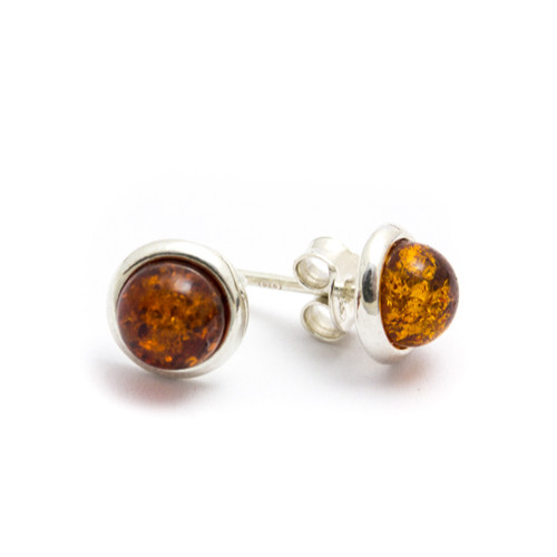 Baltic Amber Stud Earrings (Sterling Silver)