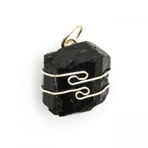 Black Tourmaline Wire Wrap Silver Pendant